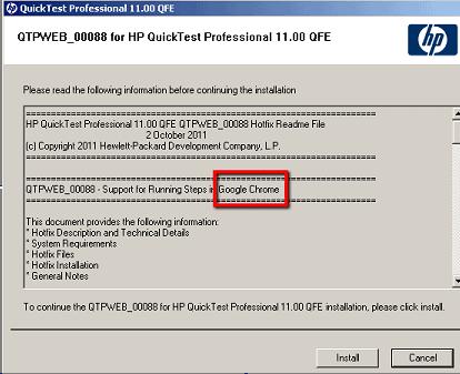 QTP11 Now Supports Google Chrome – Patch QTPWEB_00088 post image
