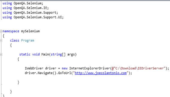 Selenium 2 0 WebDriver with Visual Studio, C#, & IE