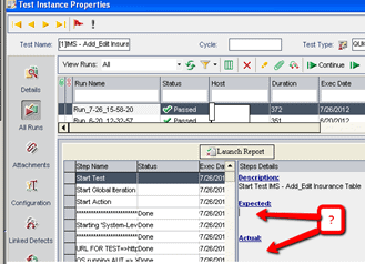 ALM How to Populate Expected Actual Results in Test Run's