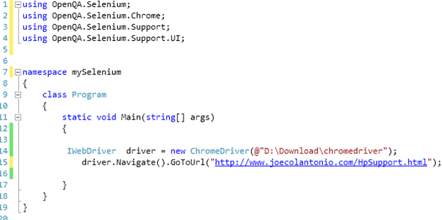 Selenium WebDriver Using Chrome WebDriver in Visual Studio C#