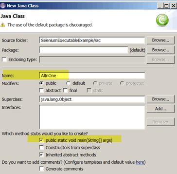 Selenium Create an Executable Java Test