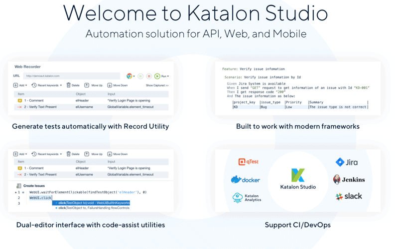 Katalon Studio Welcome Screen