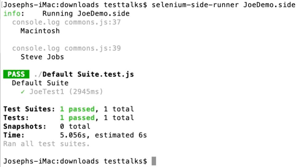 Selenium IDE Runner Results