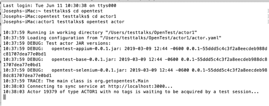 OpenTest Actor Command