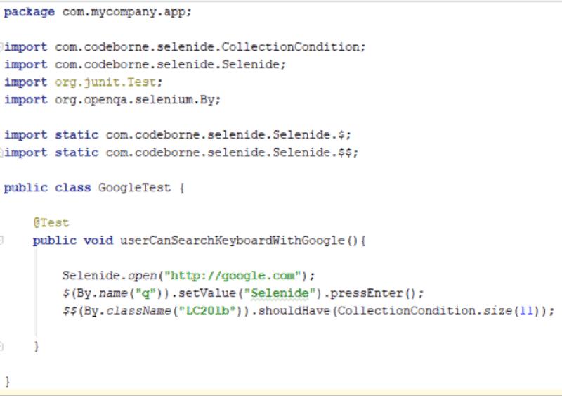 Selenide Code Example
